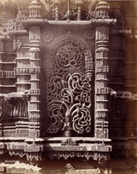 Close view of sculptural detail in a niche of the minaret, Muhafiz Khan's Mosque, Ahmadabad 1721